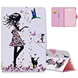 Aeeque® Galaxy Tab A6 10.1 Case White, Premium PU Leather Butterflies Girl Black Cat Wallet Slim Flip Stand Soft Silicone Protection Cover for Samsung Galaxy Tab A 10.1 SM-T580/T585 with Magnetic Clasp