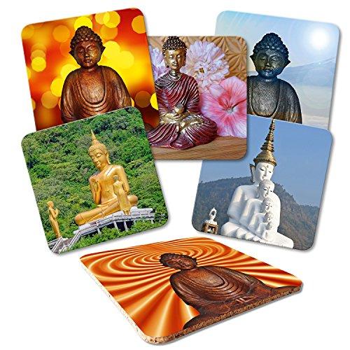 """Addies Glas-Untersetzer 6er-Set\""""Buddha-01\"""", mit Kork-Untermaterial und in schöner Klarsichtbox geliefert"""
