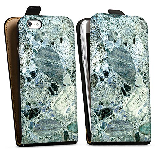 Apple iPhone X Silikon Hülle Case Schutzhülle Granit Marmor Look Marble Downflip Tasche schwarz