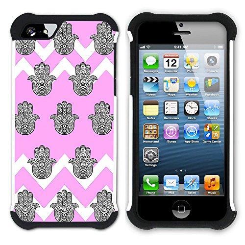 Graphic4You Monogramm Hamsa Hand der Fatima Winkel Muster (Wasserblau) Hart + Weiche Kratzfeste Hülle Case Schale Tasche Schutzhülle für Apple iPhone SE / 5 / 5S Hell-Pink