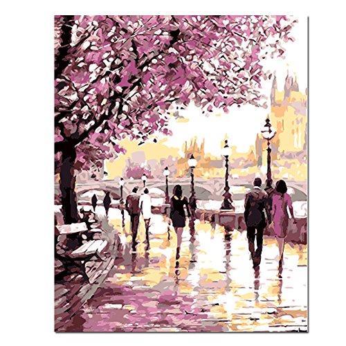 Rihe DIY-Ölgemälde mit Holzrahmen, Malen nach Zahlen-Kit, Aquarell, Paris-Eiffelturm, ca. 40 x 50 cm., Cherry Blossoms Park, with wood frame