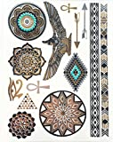 Miya® 1Stück Wild Style Metallic Tattoo, Flash Tattoos, temporär Tattoo, Gold Schwarz Silber farbig Schmuck Tattoo für Körper Finger Arme, Halskette Armband Flash Tattoos Body Tattoo, Form 21