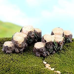 BESTIM INCUK Miniature Fairy Garden Tree Stump Bridge Ornament Dollhouse Plant Pot Figurine DIY Outdoor Decor Home Decoration