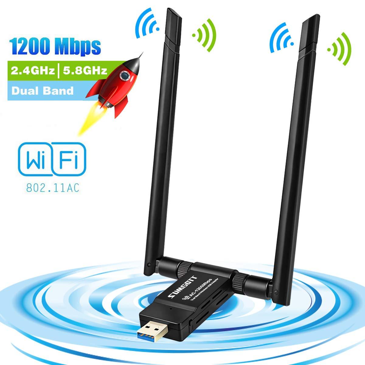sumgott USB WiFi 1200Mpbs Antera Adaptador WiFi USB 3.0 Inalámbrico Dual Band Soporte de 5Ghz 867Mbps para PC con Windows XP/Vista / 7/8/10, MAX OSX (1200mbps09)