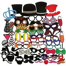 Tinksky 60pcs adultos Funny Photo Booth Props gafas barba Tie corona del sombrero para boda cumpleaños Navidad fiesta Favor