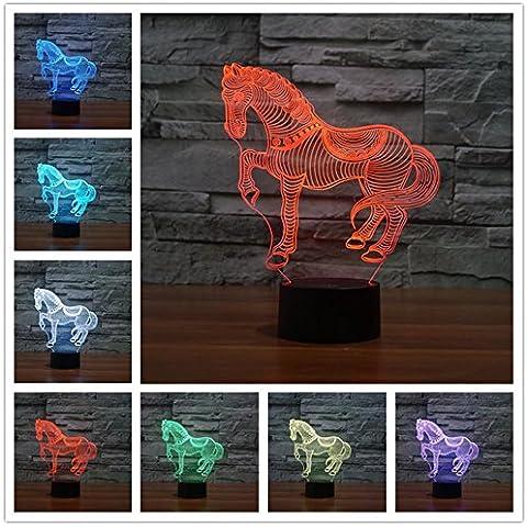 Caballo 3d lámpara LED óptico engaños Luz nocturna, haiyu 7farbwech con acrílico Flat & ABS Base & USB cargador de cambiar toca Botton lámpara de escritorio lámpara de