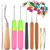 PUDSIRN 109Pcs Bent Latch Hook Crochet Needle Set, Dreadlocks Tool Kit Crochet Needle Hair Locking Tool for Kids Adults…
