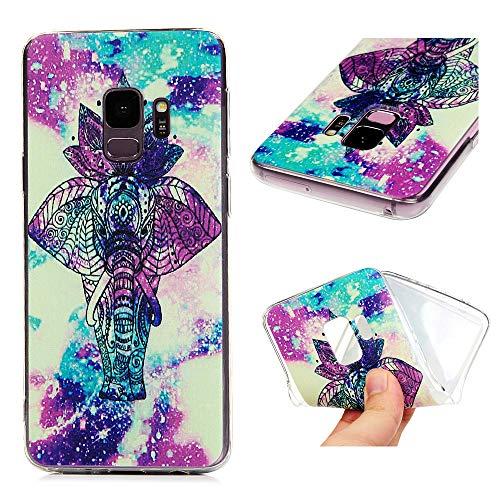 Firemoon Samsung Galaxy S9 Hülle,Mode Transparent Cute Lotus Elefant Muster,Frauen Leichte Tragbare Telefon handyhülle,360 Grad Schutz Schöne Scratch Soft TPU Shell Fashion Phone Case (Cute Paar Teen)