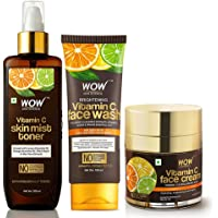 WOW Skin Science Vitamin C Face Wash Tube with Vitamin C Face Cream & Vitamin C Mist Toner Combo - Net Vol 350mL