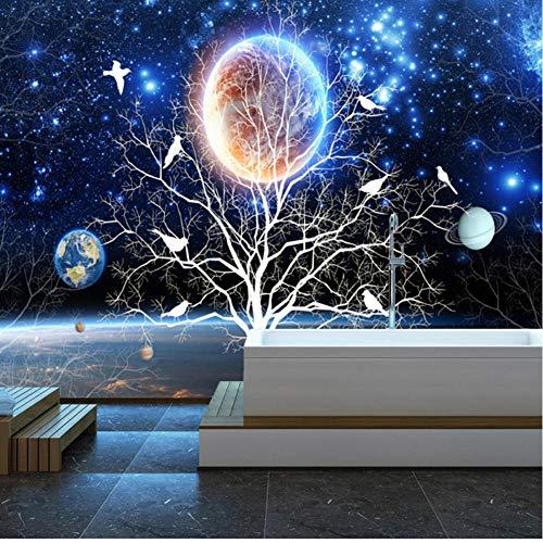 LTTGG 3D Stereo Sternenhimmel Blumen und Vögel Tapeten Wohnzimmer Sofa TV Hintergrundbild Kinderzimmer Papel De Parede Leinwanddrucke 9000 Stereo