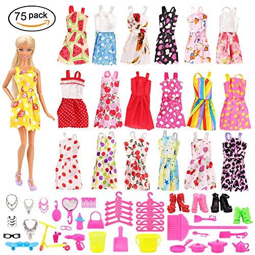 Miunana 75 Accessori Per Bambola Barbie Dolls: 15 Abiti Vestiti + 60 Accessori(Scarpe, Borse, Supporti, Appendiabiti,ecc) Selezionati A Caso
