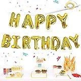 Happy Birthday Balloons Banner Gold, Self Inflating Happy Birthday Letters Balloon Banner Bunting, 16 inch Alphabet Foil Ball