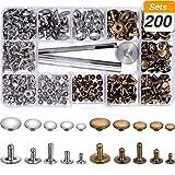 200 Set 5 Größen Nieten Leder Rivet Einzelne Cap Metallnieten Rohr mit 3 Stück Fixierung Werkzeug für DIY Handwerk Leder, Ersatz Nieten, 2 Farben (Silber und Bronze)