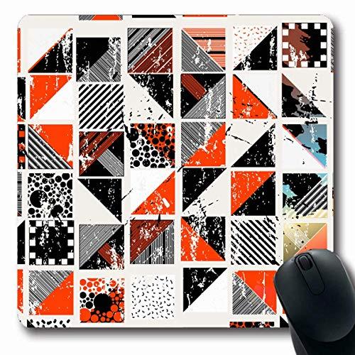 Mousepads Kreative Rote Moderne Abstrakte Geometrische Quadrate Punkte Muster Malen Grafische Künstlerische Schwarze Gebürstete Längliche Form Rutschfeste Gaming Mauspad Gummi Längliche Matte,Gummimat