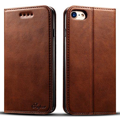 Apple iPhone 8 Hülle Flip Case Leder Handy Hülle Tasche Schale mit 3 Kredit Karten Hülle Geldklammer mit Unsichtbarem Magnet Verschluss und Stand Funktion Schutzhülle,Braun