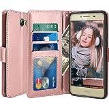 Huawei Y6 II Compact / Huawei Y5 II Funda, LK Carcasa Cubierta Cuero Billetera Case Flip Cover Con Ranuras de Tarjeta - Oro Rosa