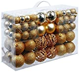 Christmas gifts, Christmas tree plastic baubles, Plastic, Gold, 100x