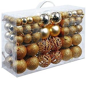 Unbekannt Christmas Gifts, confezione da 100 palline per alberi di Natale di colore oro, rosso, argento o bronzo