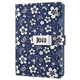 Notizbuch zum Verschließen von Yakri, Tagebuch mit Zahlenschloss TPN102 Silver flowers