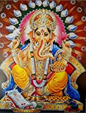 """Blessing Ganesha/ Hindu God Poster with Glitter Effect -reprint on paper (Unframed : Size 9""""x11"""" Inches)"""