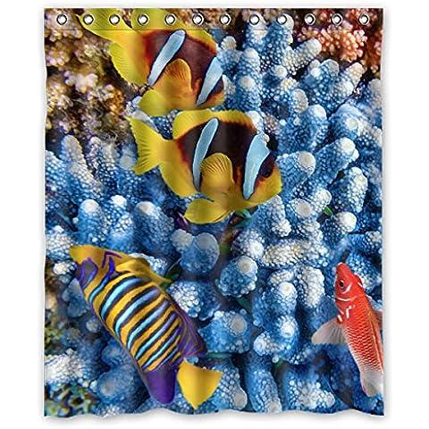 Colorato bello Pesci tropicali modello Disegno Tende doccia 100% Poliestere tessuti Impermeabile bagno tende 152 cm x183 cm (60