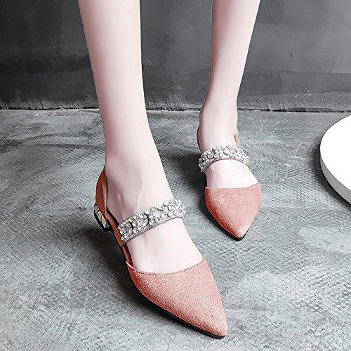 XY&GKDonna Sandali Baotou Estate Donna Sandali con tacco basso scarpe con punta Grossa All-Match Moda Donna Scarpe, 36, giallo,con il migliore servizio 36Pink