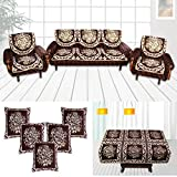 Furnishing Zone Brown 12 Piece Sofa Cover, Cushion Cover and Table Cover Set - 5 Seater