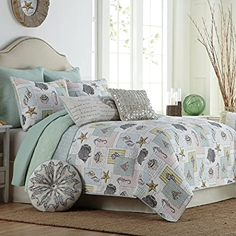 Beddingleer King Size 100% Cotton Seashell Beach Quilted Bed Spread Charming Quilted Patchwork Bedspread Antique Floral Printed Reversible Quilts Set, 3-Piece(Style#5)
