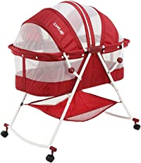 Luvlap Sunshine Baby Bed with Wheels (Red)