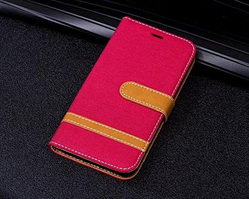 LEMORRY Apple iPhone X (iPhone Ten 10) Custodia Pelle Cuoio Flip Portafoglio Borsa Sottile Bumper Protettivo Magnetico Morbido Silicone TPU Cover Custodia per iPhone X, Stile del Denim Rosso Rosso