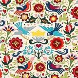 beiger Tauben und Blumen Stoff von Alexander Henry La