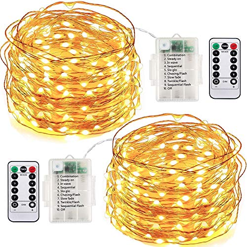 Running Bulls Led Fairy String Lights,2 Set 10m/33ft 100led Battery Operated Copper Wire string lights with Remote Control ,8modes Waterproof Lights Starry Decor Light For Indoor/Outdoor Bottle Garden Bedroom Wedding,Tree