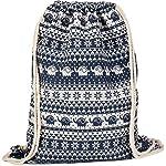 styleBREAKER Boho-Style Gym Bag Rucksack with Ethnic Flower Elephant Pattern, Sports Bag, Unisex 02012091
