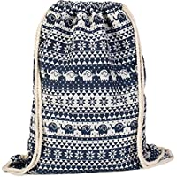 styleBREAKER Boho-Style Gym Bag Rucksack with Ethnic Flower Elephant Pattern, Sports Bag, Unisex 02012091