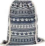 styleBREAKER bolsa de deporte, mochila en estilo boho con motivo étnico de flores y elefantes, unisex 02012091, Color Azul oscuro