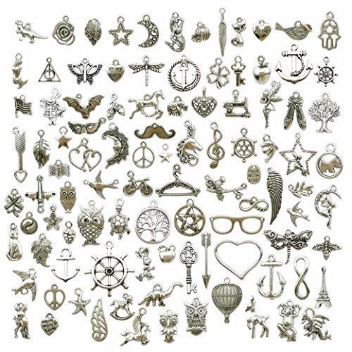 100 g (alrededor de 50 piezas) de abalorios para manualidades, plumas, alas de ángel, colgantes para manualidades, joyería, accesorios para hacer bricolaje, collar, pulseras DIY, Hazlo tu mismo.