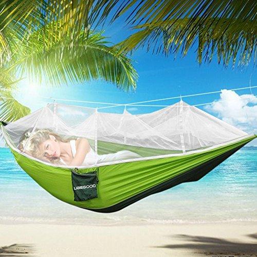 Hängematte , Ubegood [Belastung 200KG] Tragbaren Parachute Hängematte mit Moskitonetz [260 x130 cm] für Outdoor  Camping  Reisen (Grün und dunkelgrünen)