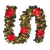 2.7M Tannengirlande Weihnachtsgirlande Beleuchtung Künstlich Dekoriert Weihnachtsdeko mit Lichtern Weihnachten Girlande Beleuchtet Haus Garten Außen Deko DIY Dekorationen für Treppen Wand Tür