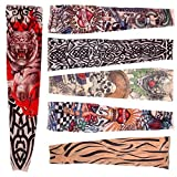 Hosaire 6 pcs/set Neuheit Designs Rock-Fake Tattoo Sleeves Arme/Beine Strümpfe Stretch Temporary-Kleid-Kostüm Vergleich