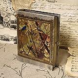 Vintage Holz-Buchsafe, 17x21x5 cm Buch Safe abscxhließbar Schlüssel Versteck