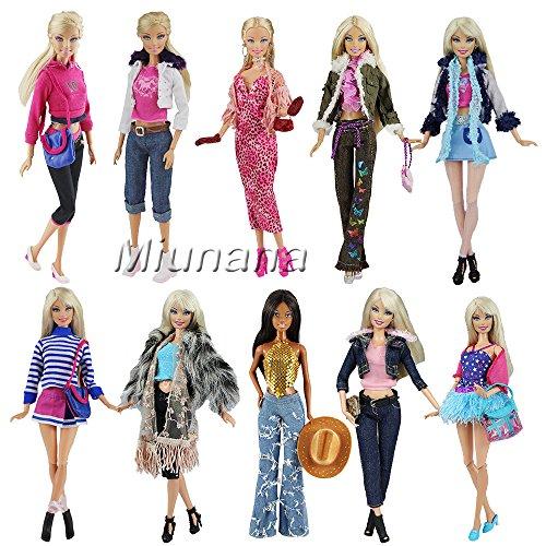 Miunana 3 Fashionistas Set Mode Kleider Kleidung Kleid Party für Barbie Puppen Doll (Barbie Fashionistas Doll Set)