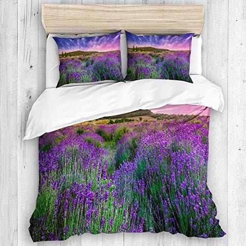 DAHALLAR Bettwäsche-Set,Mikrofaser,Feld lila Provence Sonnenuntergang über Sommer Lavendel Tihany Natur grün Frankreich Ungarn Ernte,1 Bettbezug 240x260 + 2 Kopfkissenbezug -