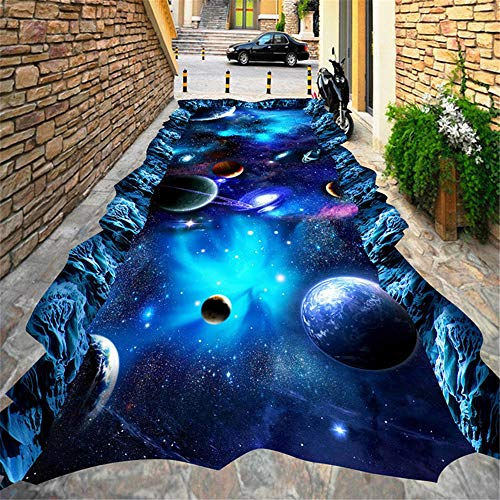 YXYNB 3D Wandtapete, 3D Tapete Modern Star Universe Bodenbelag Wandbild Mall Outdoors Kinderzimmer 3D Bodenfliesen PVC Selbstklebende wasserdichte Tapete,450X300CM