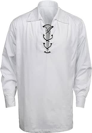 CUSFULL Mens Classic Scottish Jacobite Ghillie Kilt Shirt