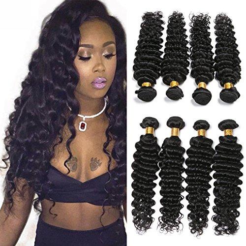 Silkylong Deep wave Peruvian hair 4 Bundles hair Weave 9a Virgin hair Extensions 12 14 16 18 inch Cheap Sale Deals of The Day