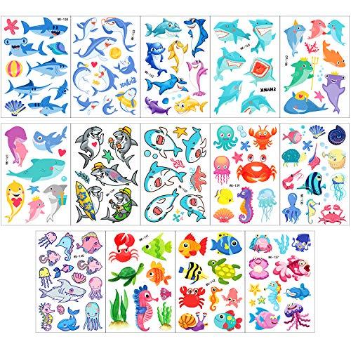 Phogary tatuaggi temporanei per bambini (100 pezzi +), tatuaggi a tema mondo marino (14 fogli) - pesci, squali, tartarughe, cavallucci marini, stelle marine, polpi- tatuaggi impermeabili finti