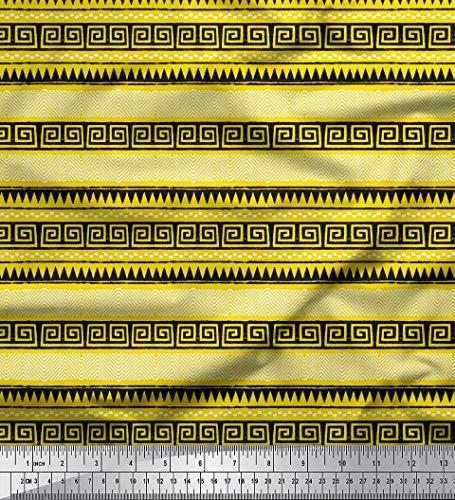 tin Stoff Chevron & griechische Schlüssel Block Stoff drucken 1 Meter 42 Zoll breit ()