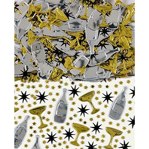 Schwarz, Gold & Silber Champagner Tisch Konfetti Streuseln 14g (3er-pack)
