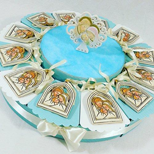(12 bomboniere+centrale) bomboniere sacra famiglia battesimo maschio appendino con immagine della sacra famiglia e centrale albero della vita kkk