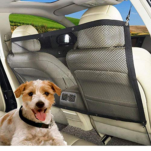 """Hundenetz Auto Haustier Barrier Sicherheit Netz Auto Sicherheitsnetz Trennnetz mit Haken und Riemen, Portable, Universal für Auto, Van, SUV und LKW, Schwarz (45.3\""""* 24.4\"""")"""